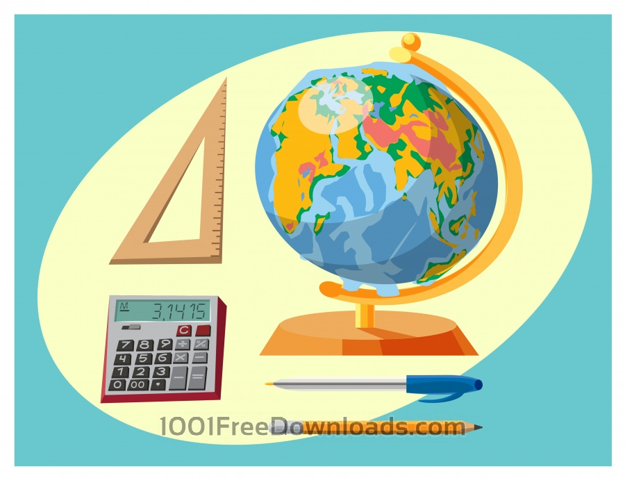 Free Education objects vector illustration for design