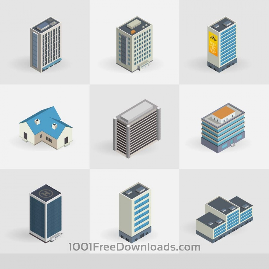 Free Vectors: Isometric vector buildings icons | Icons