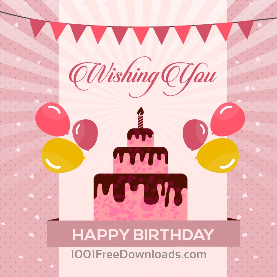 Free Wishing happy with vector cake