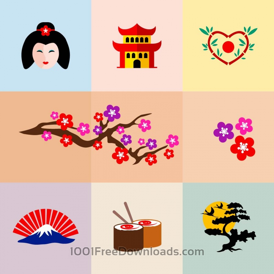Free Vectors: Set of Japanese Icons | Symbols