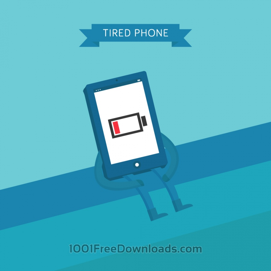 Free Vectors: Tired Phone | Objects
