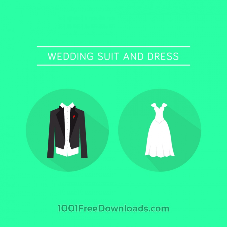 Free Vectors: Wedding Dress and a Suit  | Icons