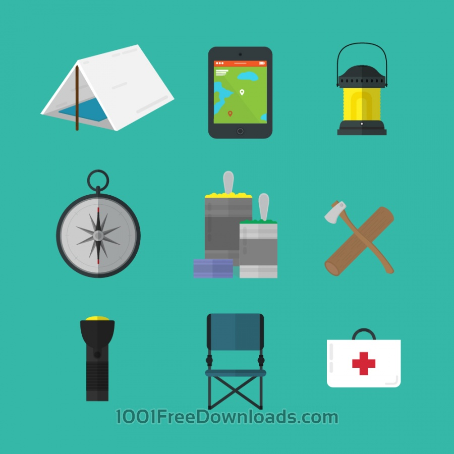 Free Vectors: Camping tools icons | Icons