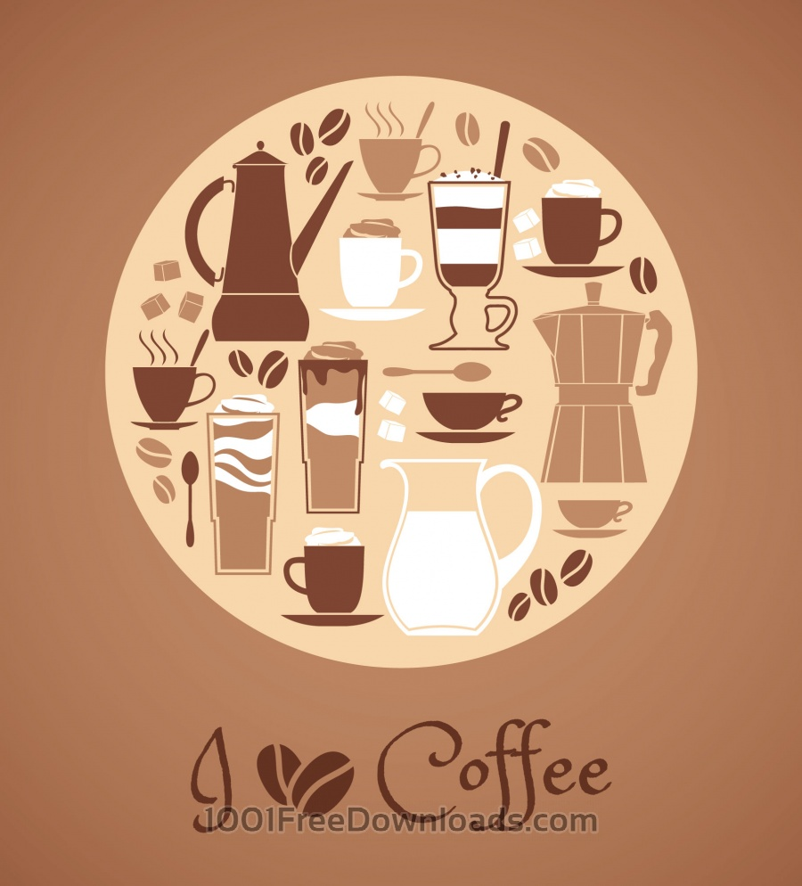 Free Vector illustration of coffee design elements.