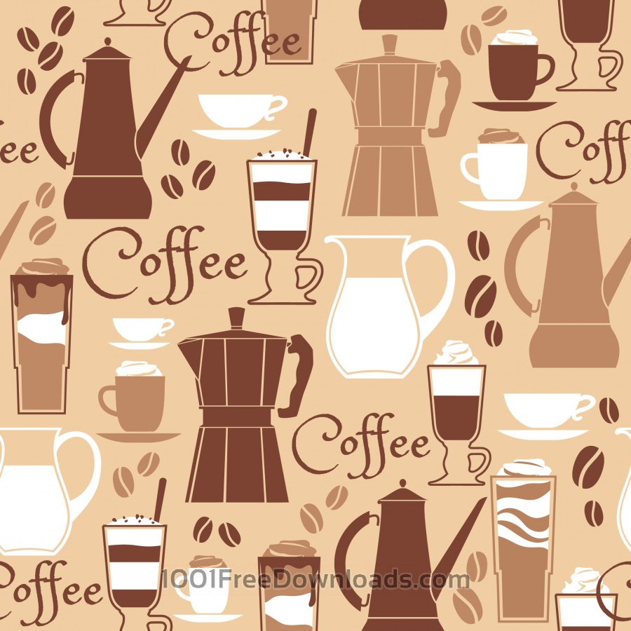 Free Vectors: Vector illustration of coffee design elements. Seamless pattern | Abstract