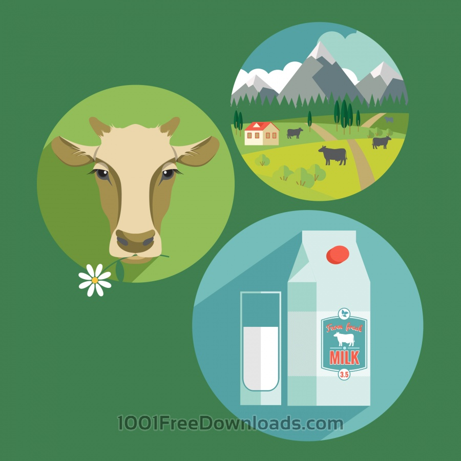 Free Vectors: Vector flat design illustration of milk. Design elements | Abstract