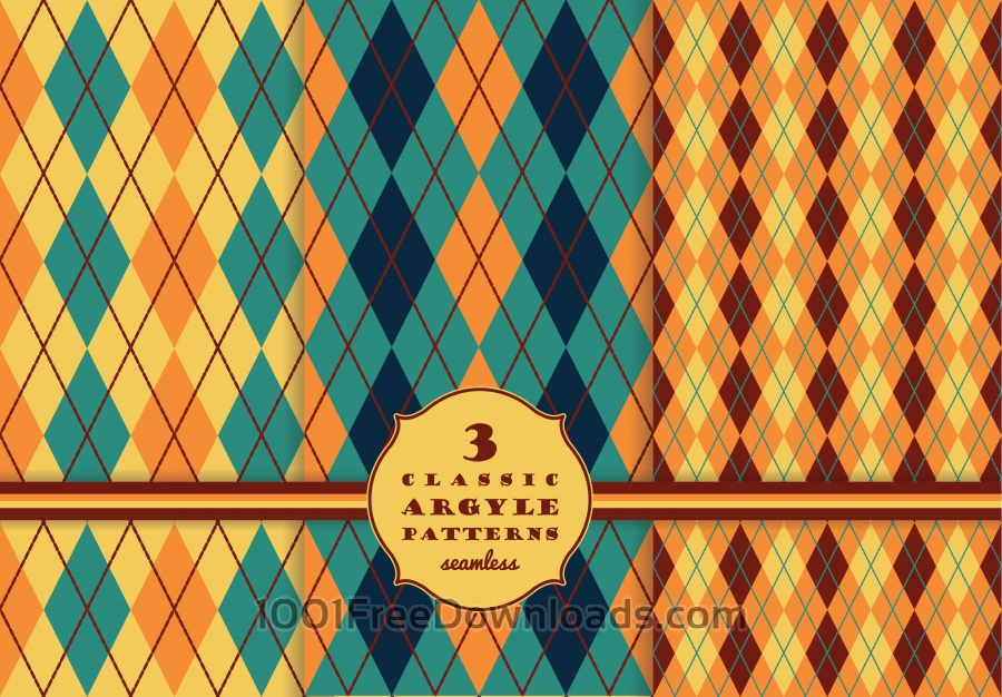 Free Set of argyle seamless pattern