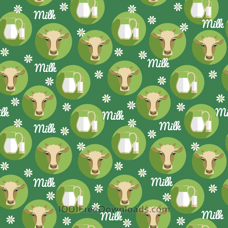 Free Vector flat design illustration of cow. Seamless pattern