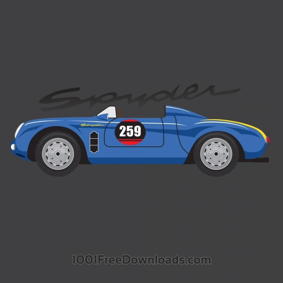 Free Vectors: Porsche Spyder | Vintage