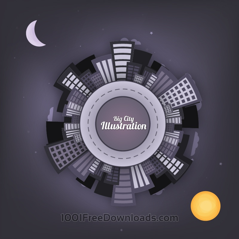 Free City at Night Vector Illustration
