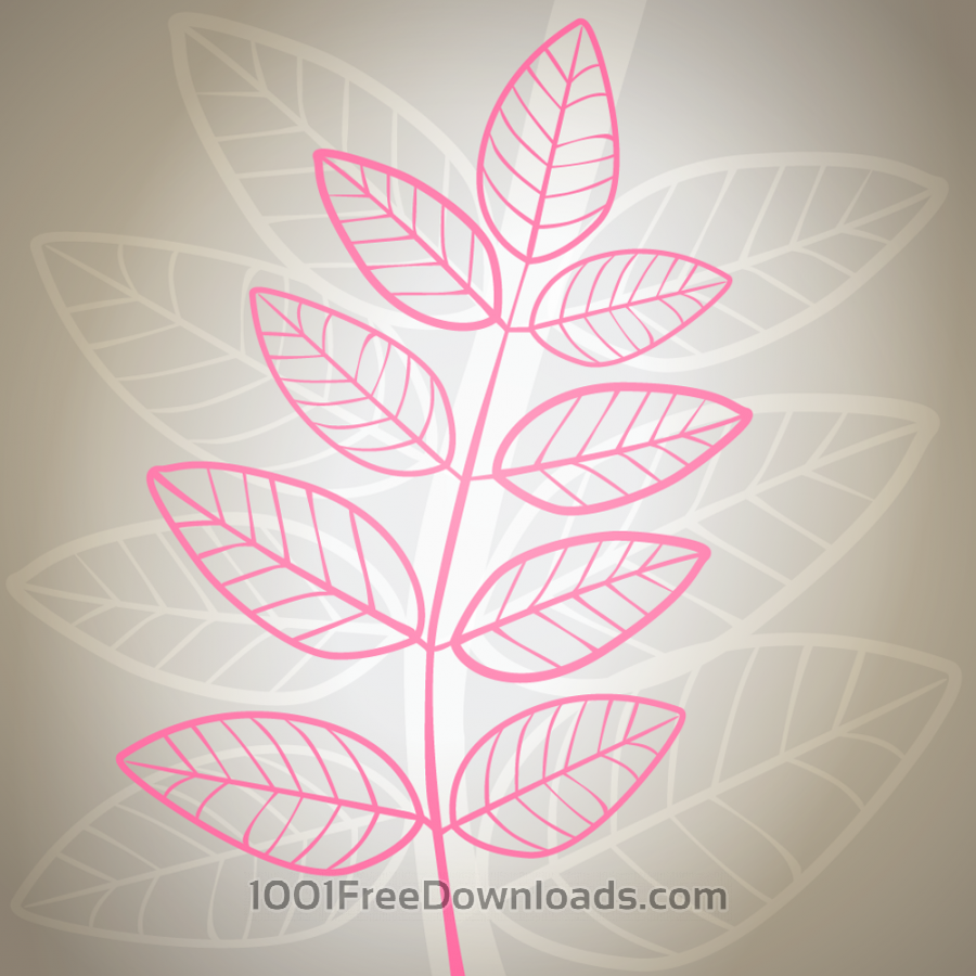 Vector illustration Pink leaves on gray background