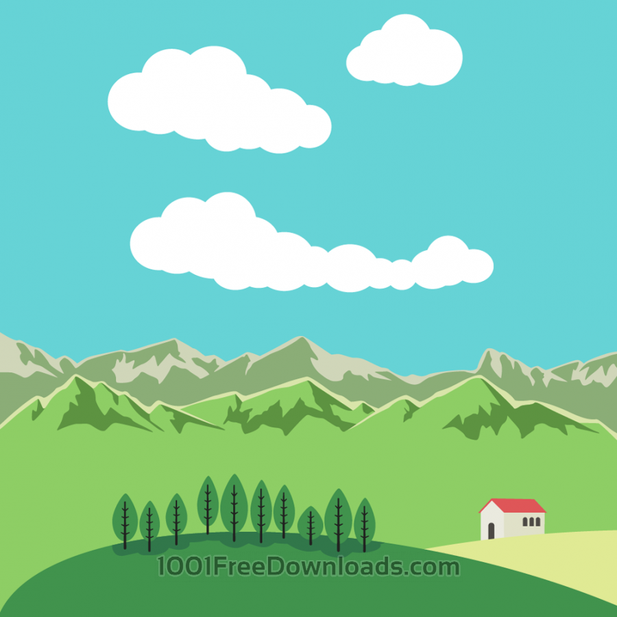 Free Vector illustration Mountain landscape