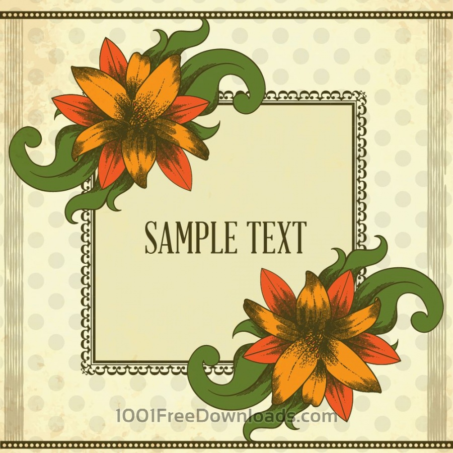 Free Vintage illustration with vintage flowers and frame