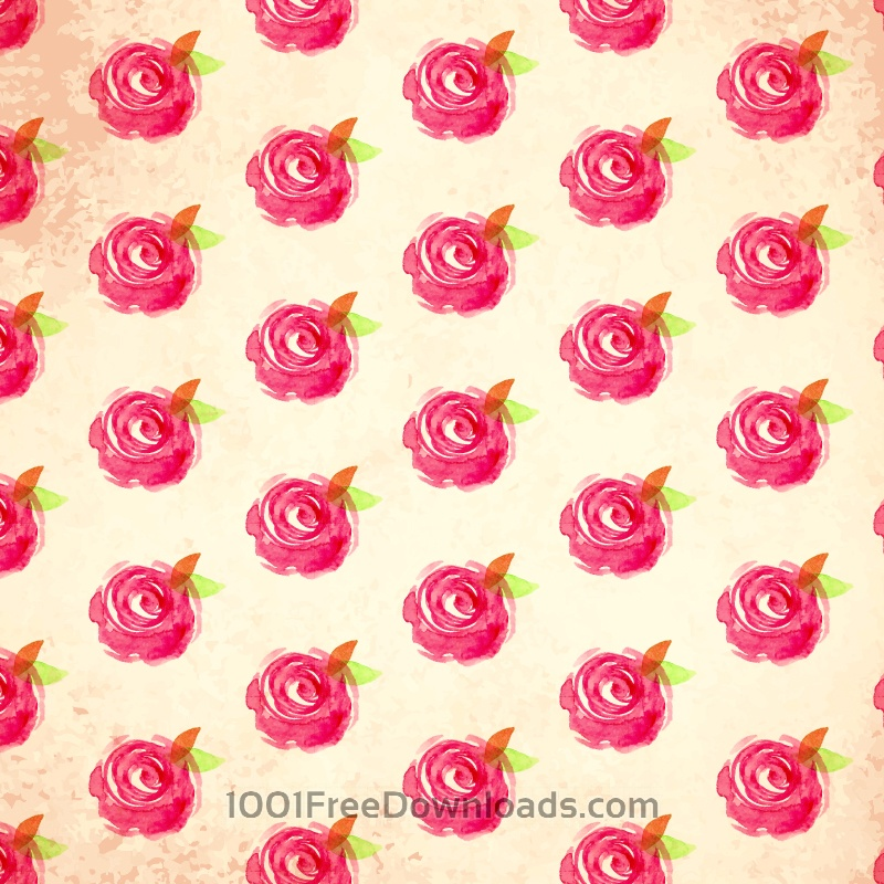 Free Vectors: Watercolor vector pattern with rose | Patterns