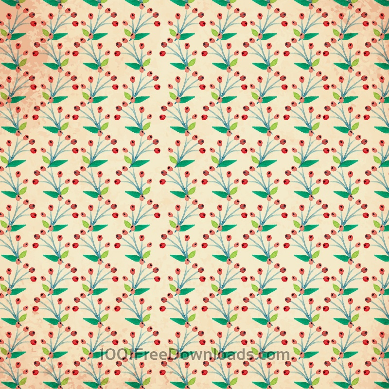 Free Watercolor vector pattern with flowers