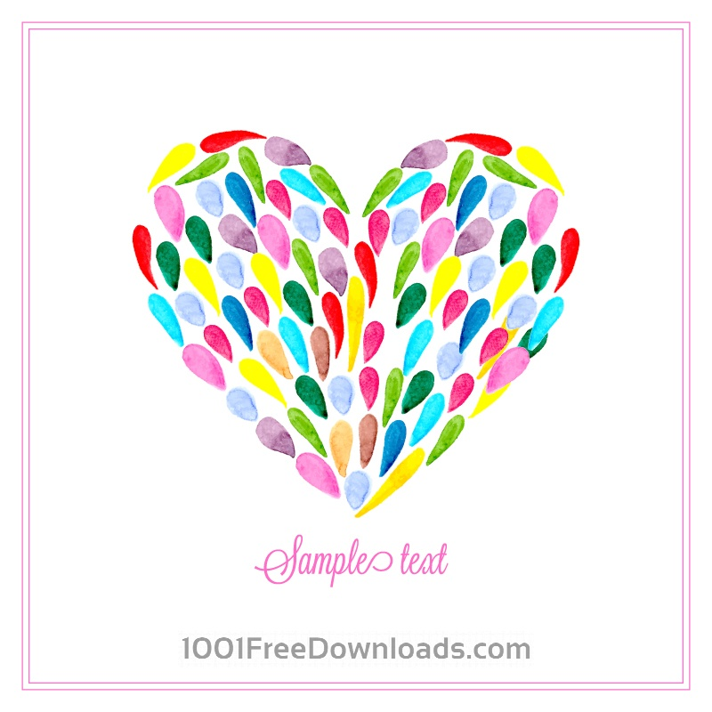 Free Watercolor heart with drops