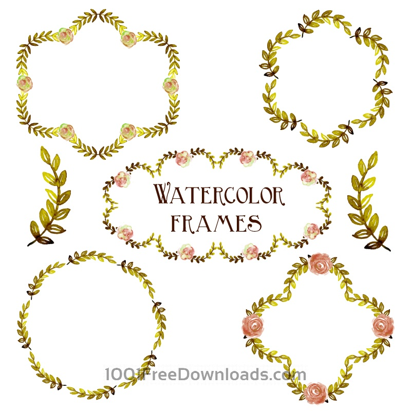 Free Watercolor vector set with frames