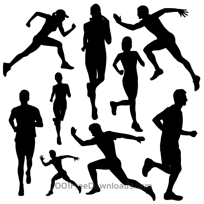 Free Vectors: Running people silhouettes | Design