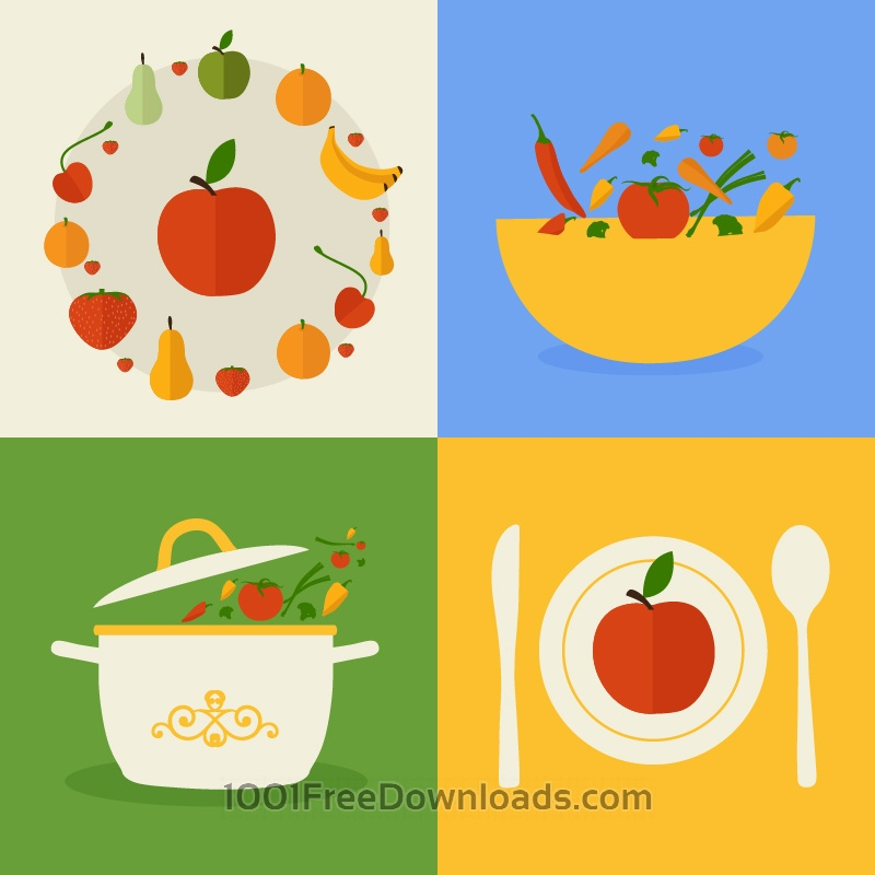 Free Food flat design concept icons