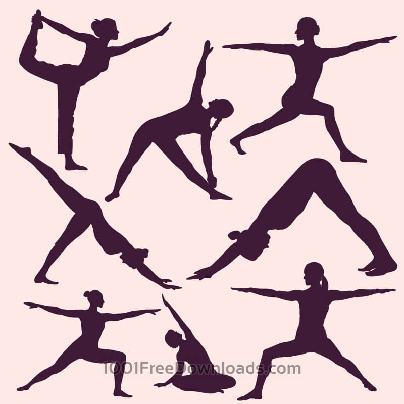 Free Vectors: Yoga poses silhouettes | Design