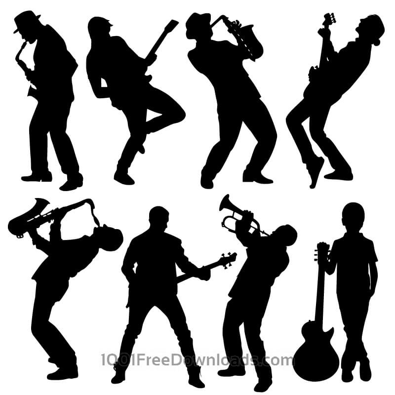 Free Vectors: Silhouette of musician people | Design