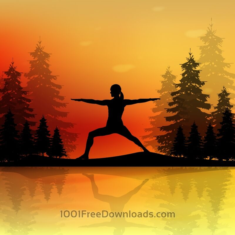 Free Yoga pose at sunset