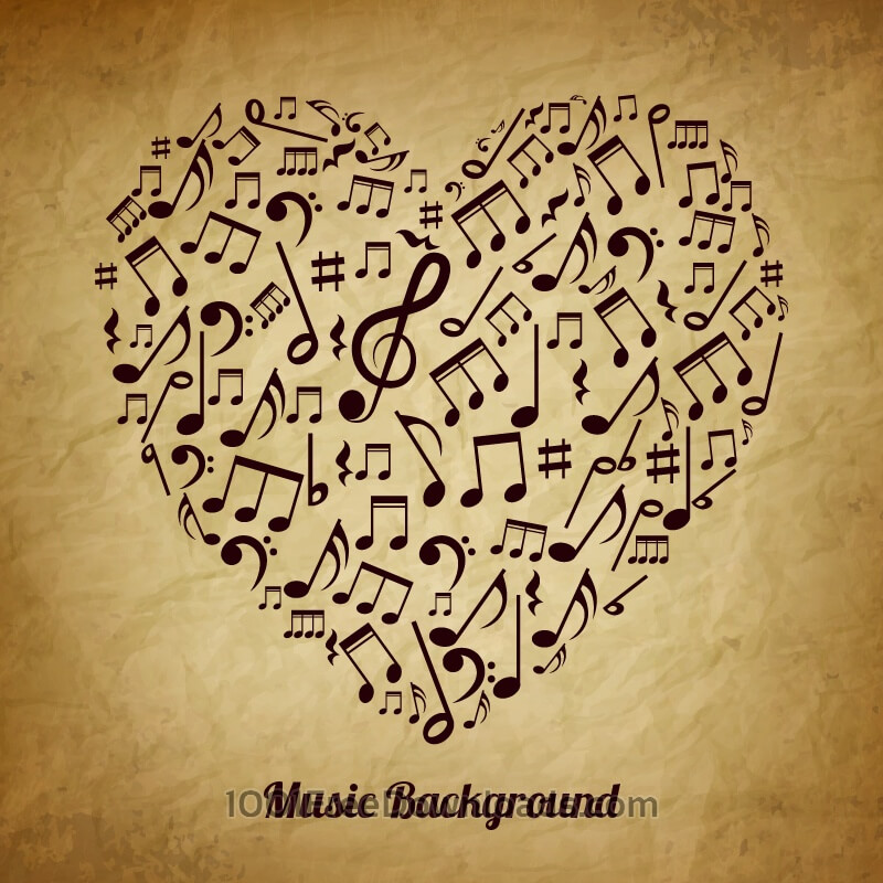 Free Heart made of musical notes