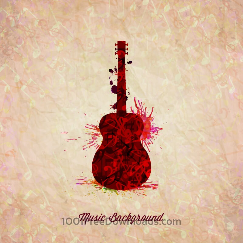 Free Vectors: Guitar made from notes | Backgrounds