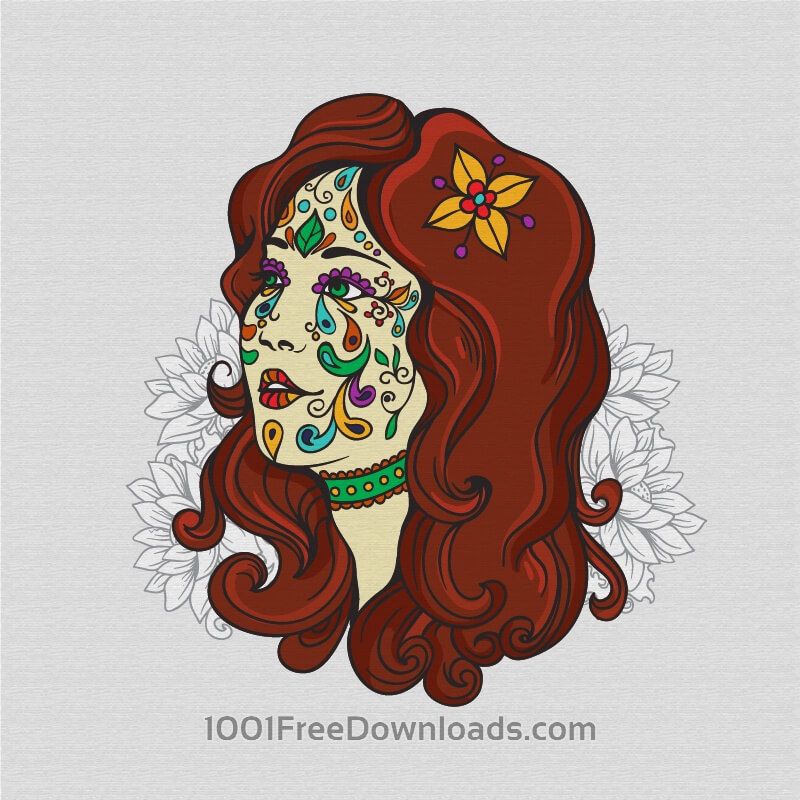 Free Day of the dead girl with flowers