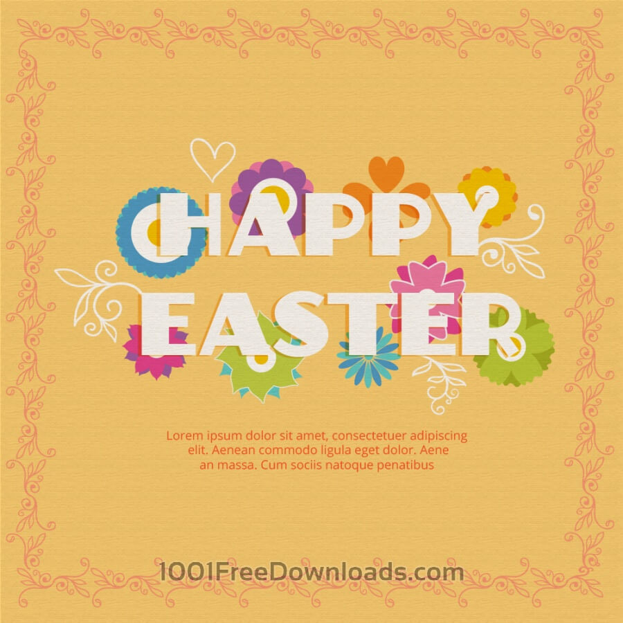 Free Easter illustration with flowers