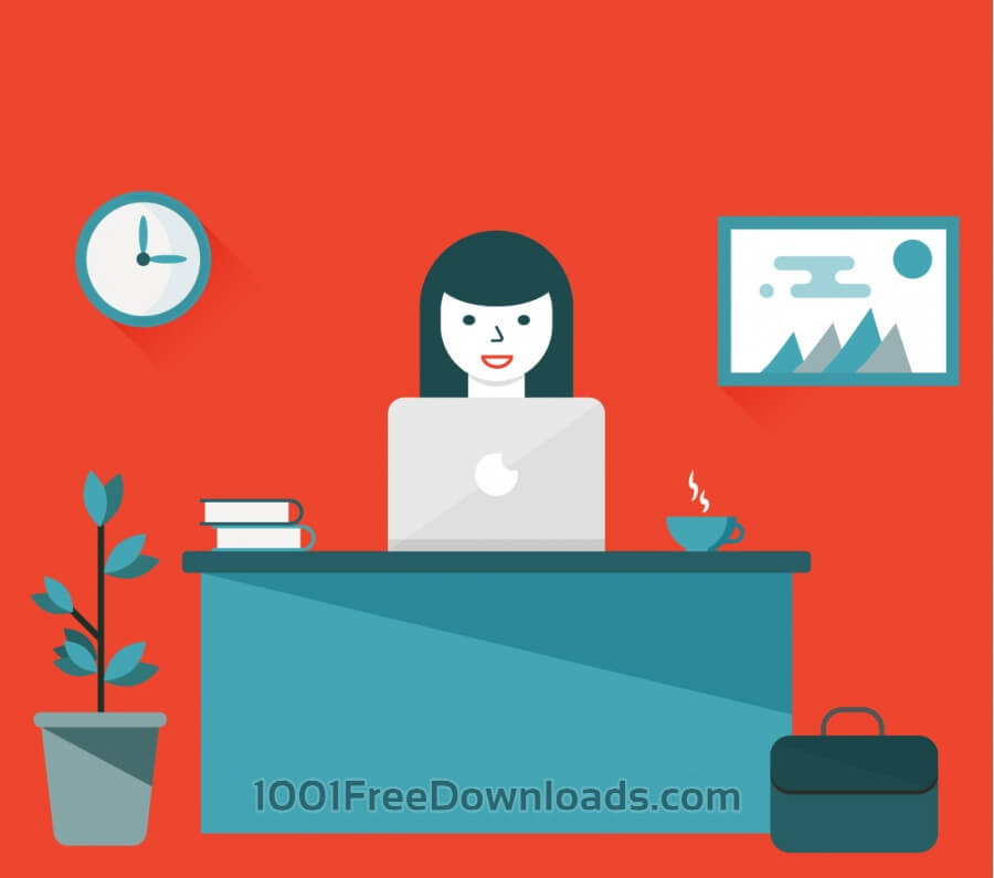 Free Vectors: Woman sitting at desk working on computer | Backgrounds