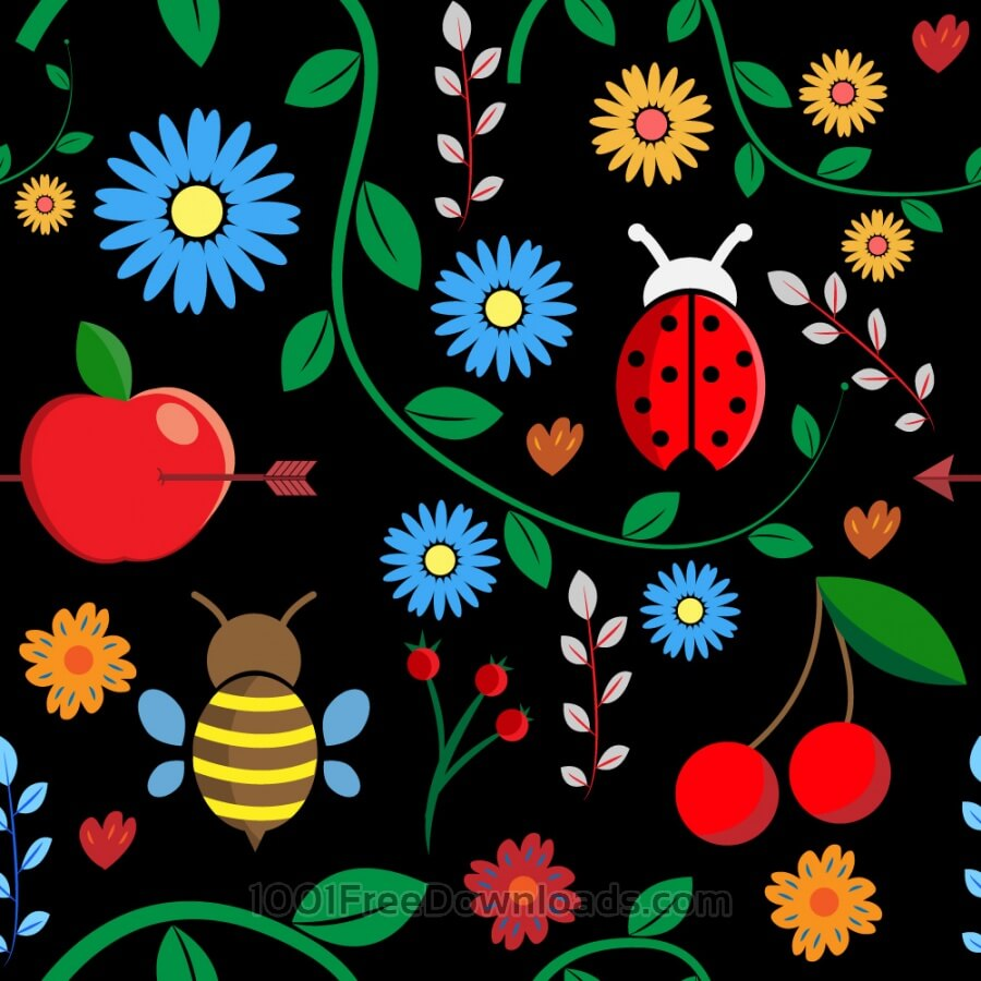 Free Pattern with leaves, berries, bugs, flowers, apple, branches