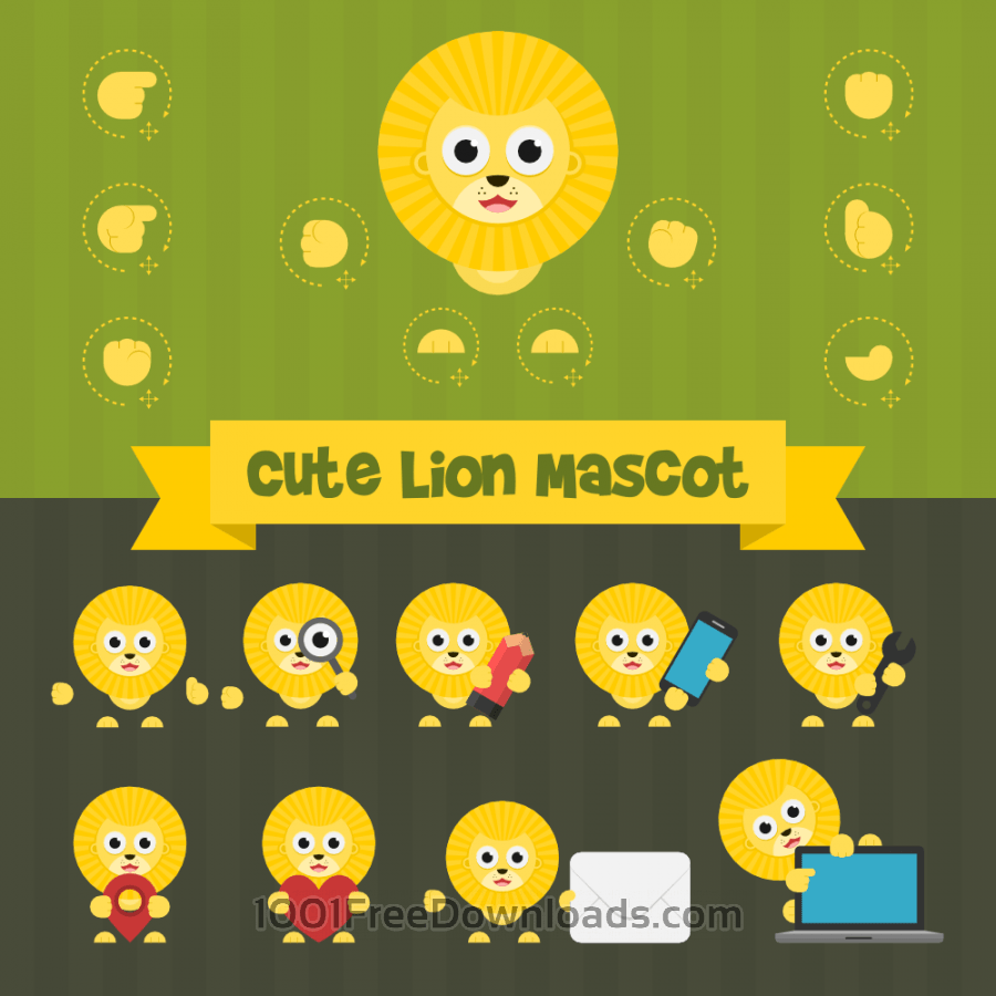 Free Vectors: Cute Lion Mascot Kit | Design