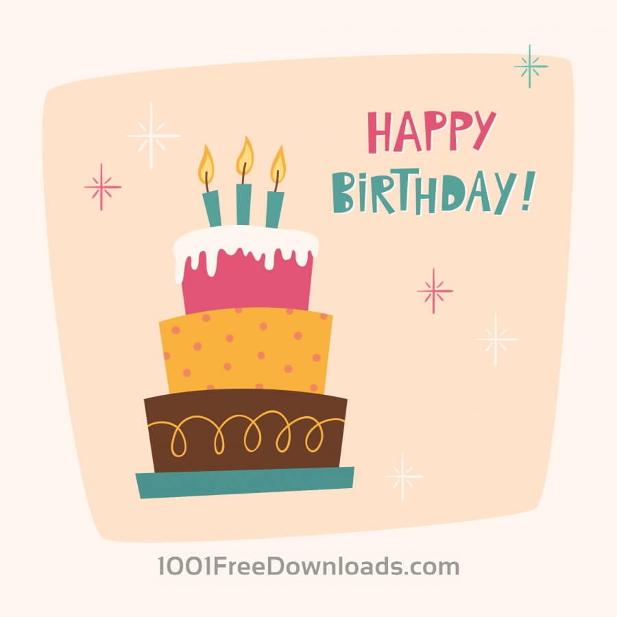 Free Vectors Happy Birthday card with cake Abstract