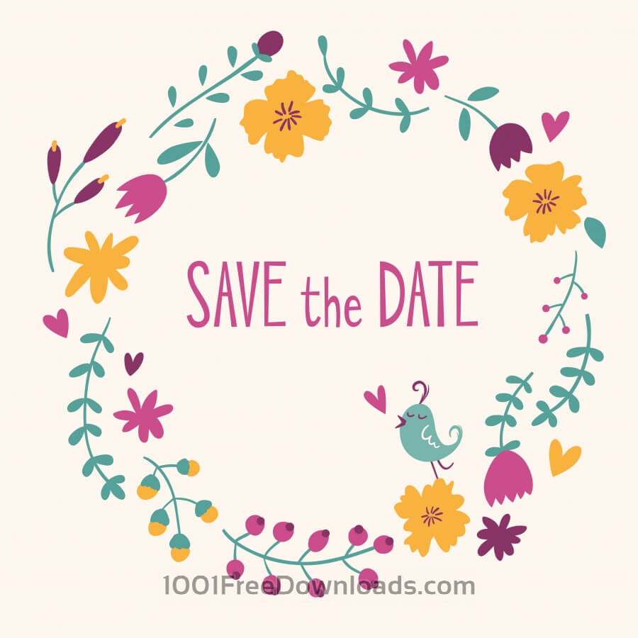 Free Vectors Save The Date Vector Card Backgrounds