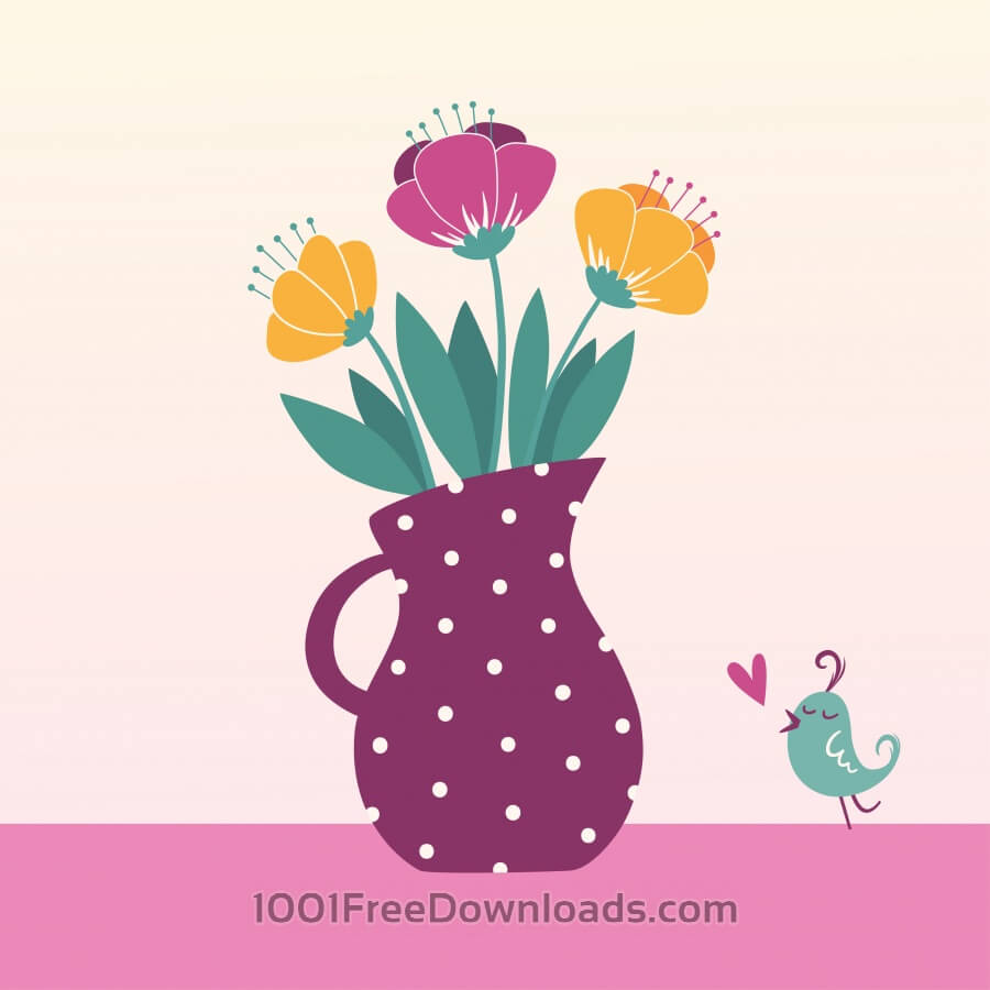 Free Vector illustration of jug with flowers