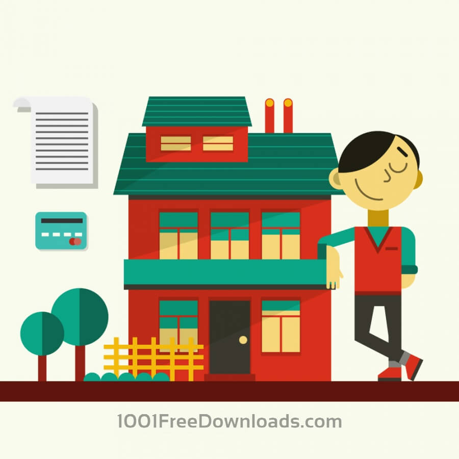 Free Vectors: Happy guy standing near his house | Objects
