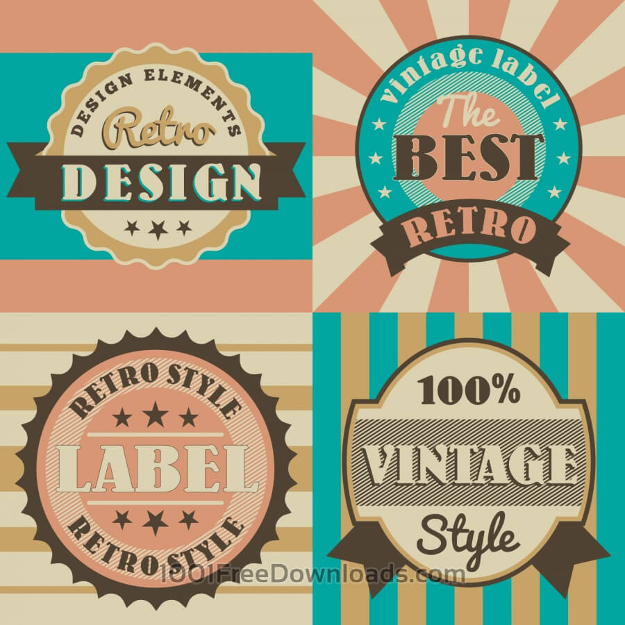 Free Vectors: Set of retro vintage badges | Abstract