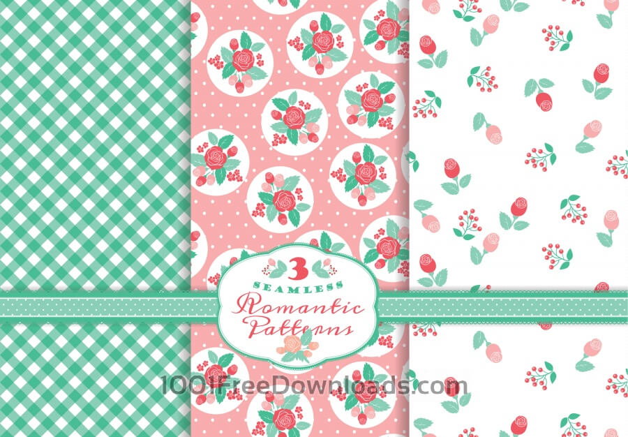Free Vectors: Set of romantic patterns | Abstract