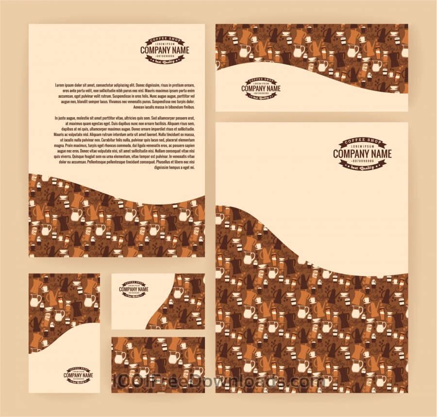 Free Set of business templates for coffee shop. Vector background.