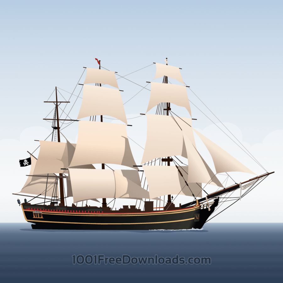 Free Vectors: Vector illustration Sailboat | Vintage