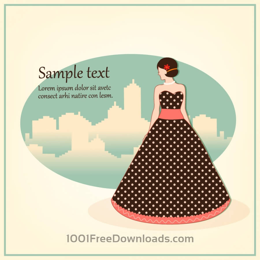Free Fashion vector illustration with girl