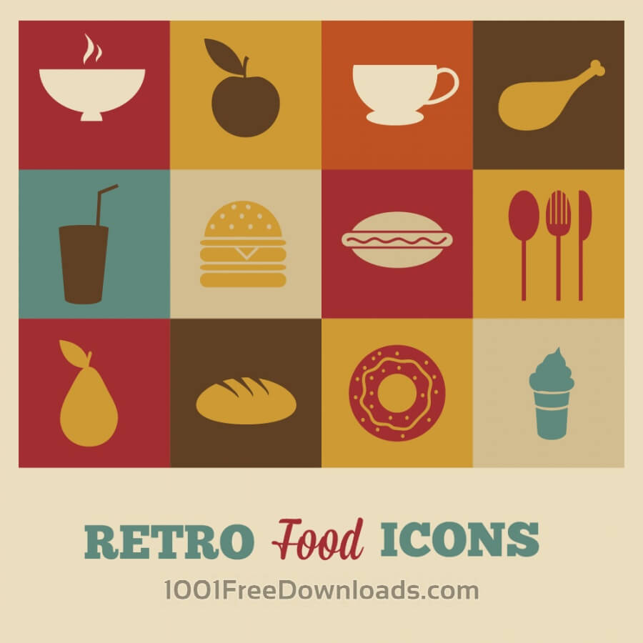 Free Vectors: Set of retro food icons | Icons