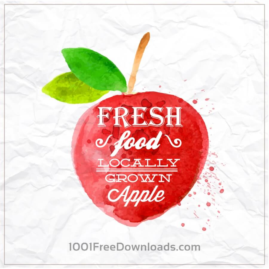 Free Watercolor apple with typography