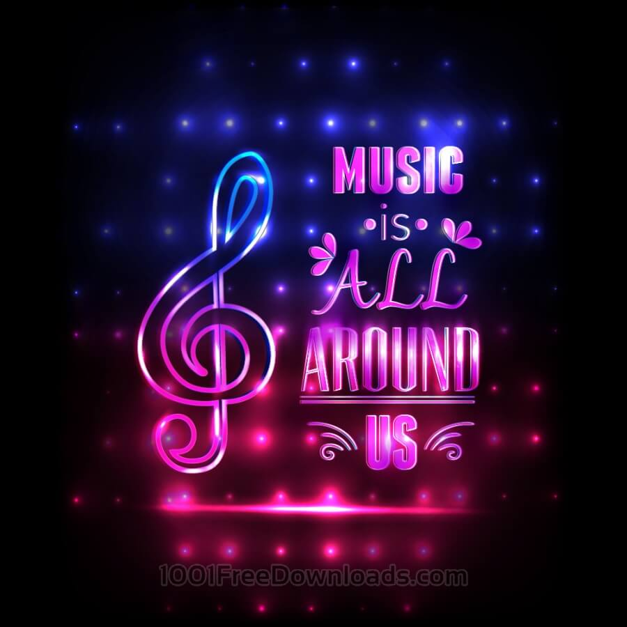 Free Music illustration with typography