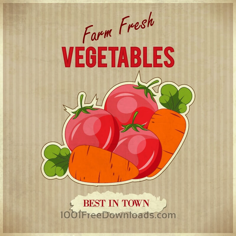 Free Vegetables retro illustration