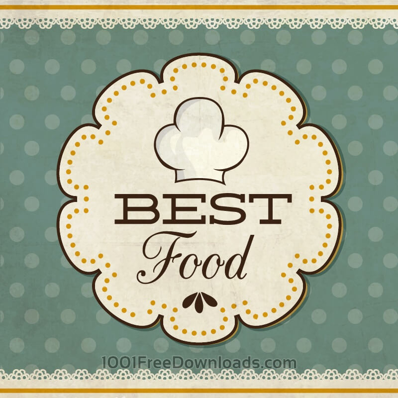 Free Food label on retro background