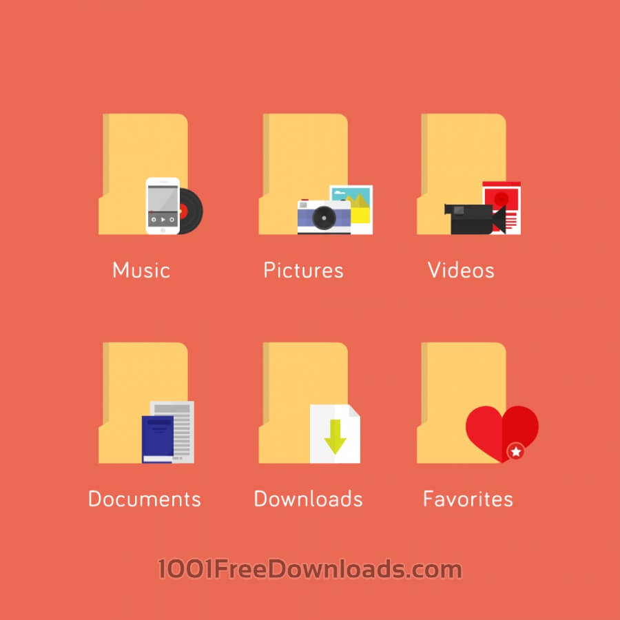 Free Vectors: Media file folder icons | Icons