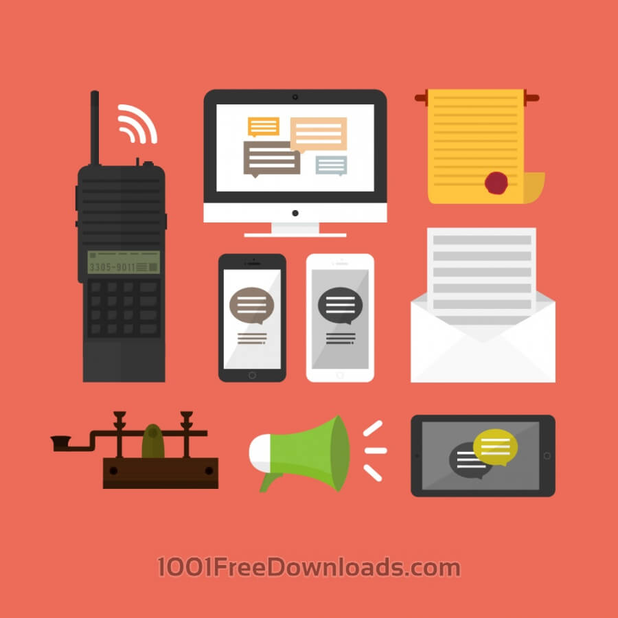 Free Vectors: Old and modern communication mediums | Objects
