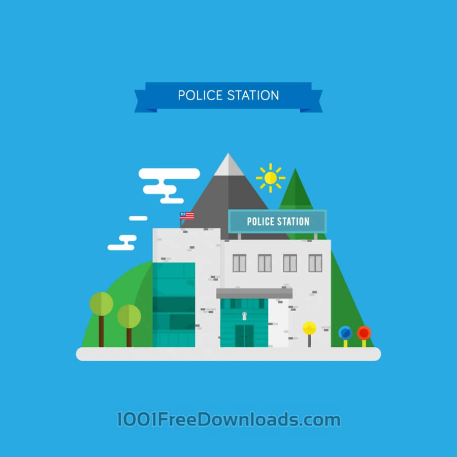 Free Vectors: Vector Illustration of a Police Station | Objects